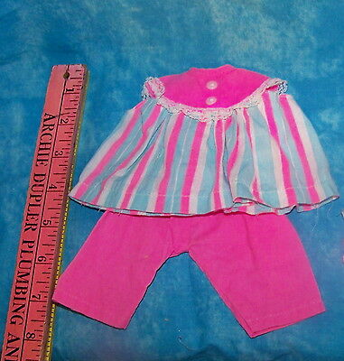 Vintage Newborn Thumbelina Doll Pink Blue White Top & Pants Hat Spring Outfit