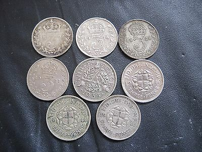 8 x SILVER THREEPENCE COINS QUEEN VICTORIA, GEORGE V, V1, 1898 1914 1920 1921 ++