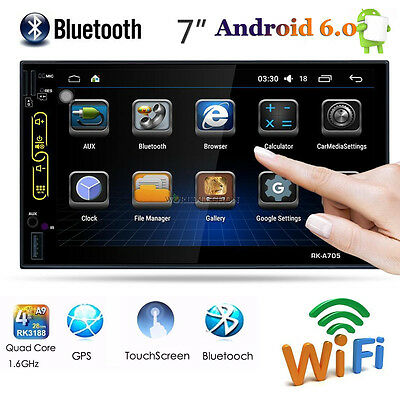 Car Audio Video Radio Player GPS Navigation Android 6.0 Double Din 7'' Bluetooth