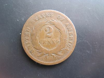 2 CENTS COIN UNITED STATES OF AMERICA WORN COIN NO DATE ( CIRCA 1860's )