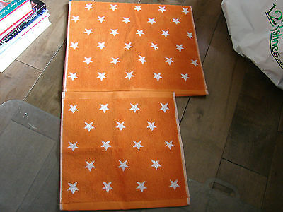 Pottery Barn Kids Orange With Stars  Hand Towel/wash Cloth  Gorgeous Color