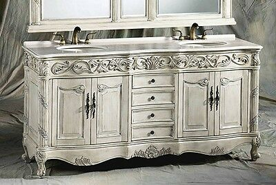 72 Inch Antique Ivory Double Sink Bathroom Vanity Cabinet