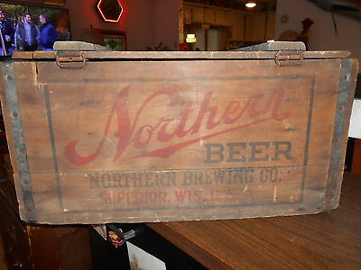 Antique Wood Northern Brewing Co.Crate Beer Case w/Lid Superior Wisconsin