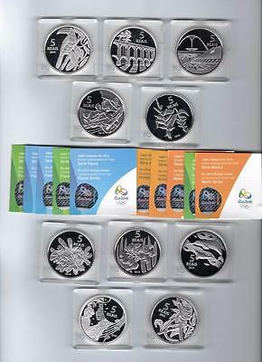5 Reals 2015 Brazil 2016 Rio Olympic Games Ag Proof 10 Coin Lot w/ Certificates