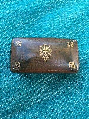 Vintage Antique Leather Snuff box Pill Box