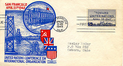 1945 United Nations FDC  (Scott #928)    (L W Staehle cachet)