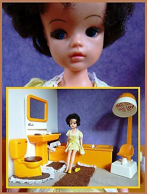 Vintage Sindy doll, with dollhouse furniture, bathroom, lullaby lace 1977