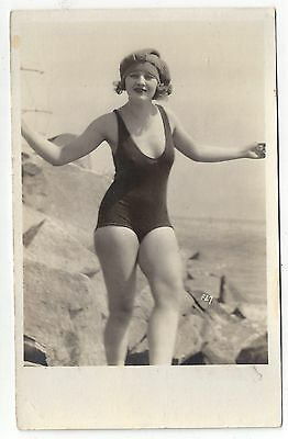 RP Bathing Beauty Risque Pose Girl in Bathing Suit ca1930 Postcard