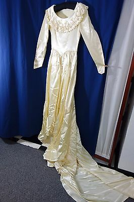 1940's Wedding Gown-Small- Ivory Satin w/Pearls/Embroidery-Long Train- ELEGANT