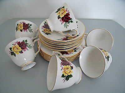Rare Collectable Vintage Queen Anne 18 Piece Tea Set Yellow & Red Rose Design