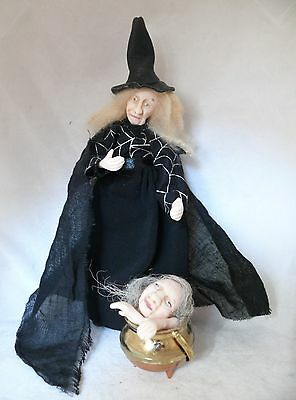 Dolls House Miniature Witch With Cauldron 1-12Th Scale