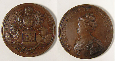 GB. Anne, 1707.  Union with Scotland medal in bronze, 47mm, EF.