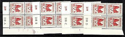 South Africa  - 4 early defintive cylinder blocks - 218A - D MNH