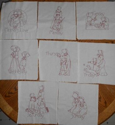 8 Vintage Quilt Blocks Hand Embroidered Turkey Red Work MOTHER'S LOVE - Amish