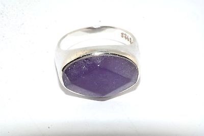 Faceted Purple Jade Sterling Silver Ring