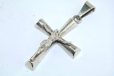 Heavy Sterling Silver Mexican Crucifix Cross Pendant