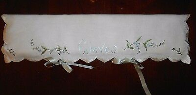 1920's Antique Handmade Society Silk Embroidered Forget-Me-Nots Linen GLOVE Case