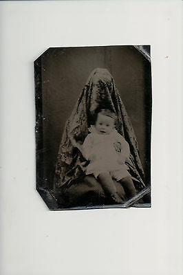 Hidden Mother with Baby Tintype Photo 1/6th Plate Victorian Spooky