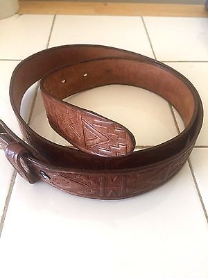 Vintage Tooled Brown Genuine Leather Belt 36-38 Aztec Design Mexico no buckle