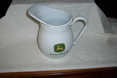 John Deere Licensed Water Pitcher - Porcelain Covered Metal - Deer On Front