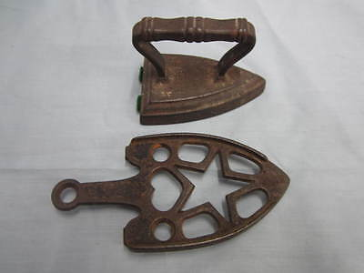 Vintage Cast Iron Toy Iron and Trivet