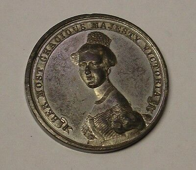 GB 1837 Queen Victoria. 33mm, white metal by Ottley. Ascended the British throne