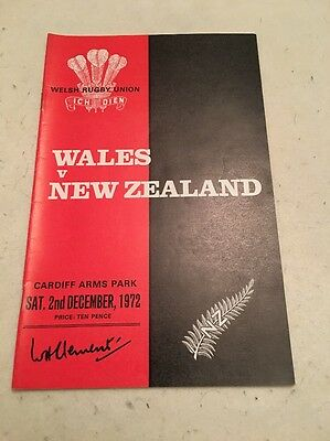 Wales V New Zealand All Blacks 1972 Rugby Programme