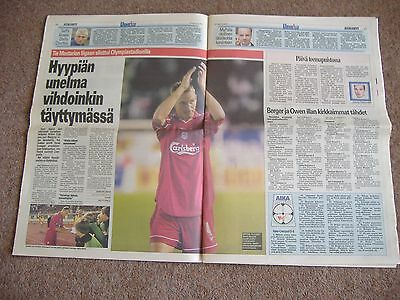 FC Haka v Liverpool, 9/8/2001 ( Finland Paper After Match with Report/Pictures)