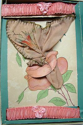 ANTIQUE 1920s VINTAGE GIFT HAND PAINTED SILK HANKIE & PINK SILK FLAPPER GARTERS