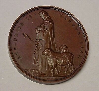 1867 Art Union of London Medal. AE, 57mm. Art Union Dyce Medal, EF and lovely.