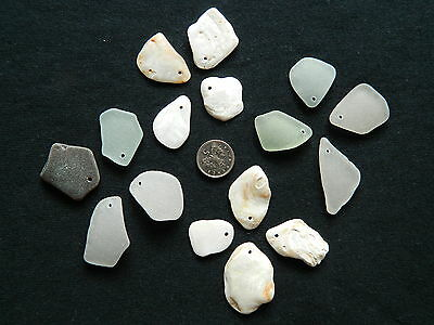 Drilled Sea Glass And Shell Pieces For Arts And Crafts