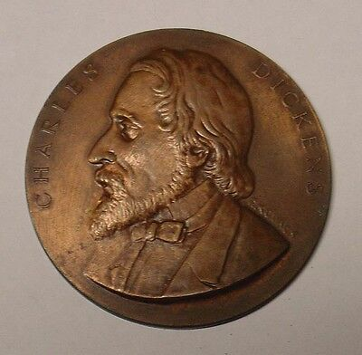 GB 1870 Commemorative Uniface Medal.  Æ 50mm.  Portrait of Charles Dickens, VF.