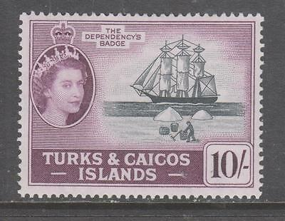 TURKS & CAICOS Is. - 1957 QE II Pictorial Definitive - 10/-., MH.  Cat £26