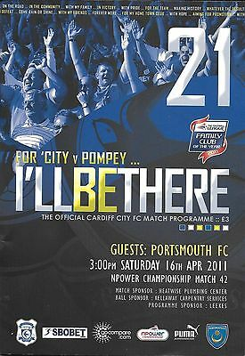 Football Programme>CARDIFF CITY v PORTSMOUTH Apr 2011
