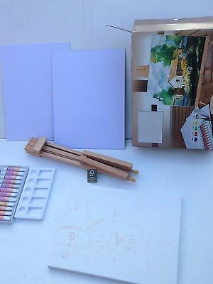 New Desk Top Wooden Artist Easel Acrylic Paints Brushes Pallet Painting Canvases