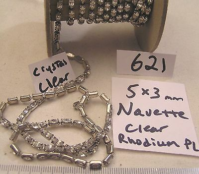 Vtg 5x3mm Navette Clear Swarovski Silver Rhinestone Chain Jewelry Craft Repair +