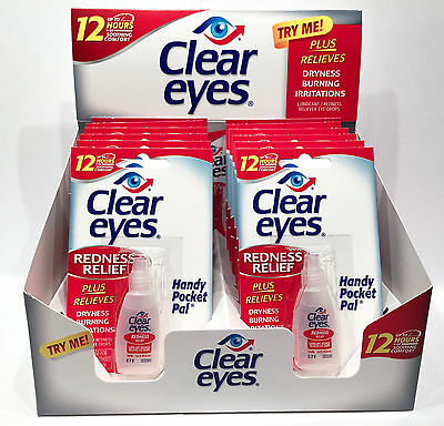 12 Pack BOX CLEAR EYES DROPS REDNESS RELIEF X12 PACKS 0.2 OZ .6 ML EXP 10/2019