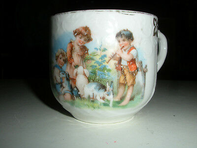Childs Antique TransferWare & Embossed Mug with Kids Playing with Rabbits
