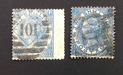 GB Queen Victoria Surface Printed 2/- Blue Used - Shades X 2. (cat £500)