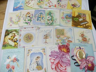 HUGE LOT 22 Vintage 1950s UNUSED GREETING CARDS Birthday Easter Wedding Satin