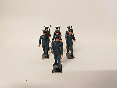 7 Piece Vintage Lead / Metal Marching Toy Soldiers Grey / Blue