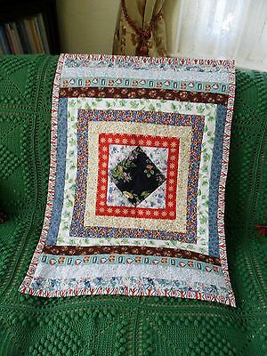 """Quilt for Baby's Cot Crib Buggy. Cotton Patchwork 32 x 22"""" Lightly Padded NEW"""