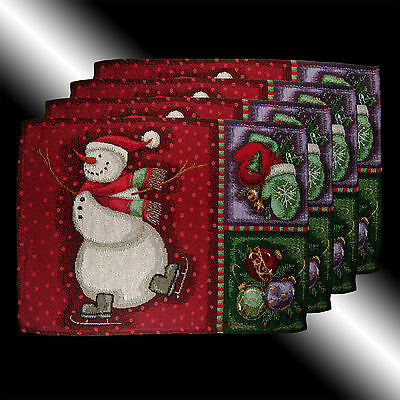 Set Of 4 Vintage Chic Red Christmas Snowman Tapestry Deco Table Linen Placemats