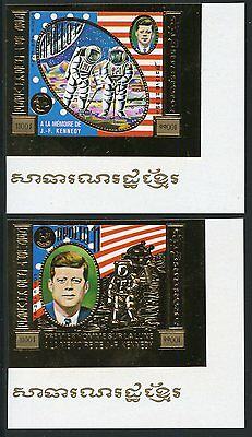 Cambodia John F. Kennedy Gold Foil Imperforate  Set Of Two Scott#c44/45 Mint Nh