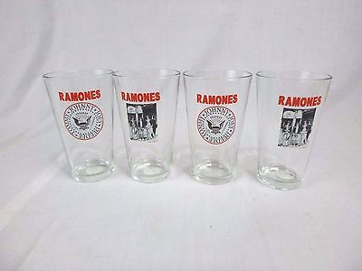 Set of 4 Ramones Pint Beer Bar Drinking Glasses Punk Rock Collectable
