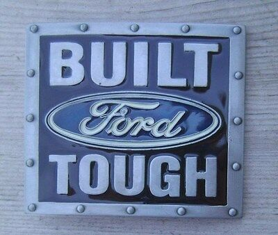 Ford Built Tough Belt Buckle Pewter Gray with Black Enamel NEW