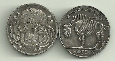 Skull Art Hobo Buffalo Nickel