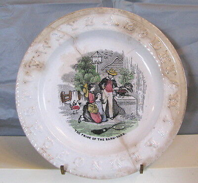 """Antique Child's ABC Plate.  As is.   Porcelain.  The Pride of the Barnyard.  7"""""""
