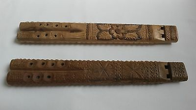 2x Antique Traditional Eastern European Slavic Double Wooden Carved Diple Flute