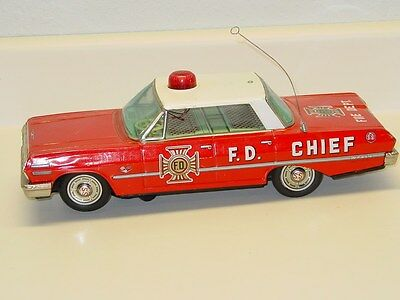 Vintage Japan Tin Chevrolet Impala SS Fire Dept. Chief Car, Battery Operated